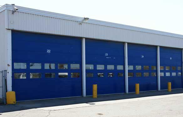 Blue roller doors