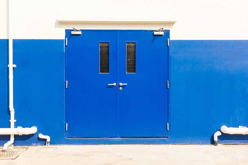 Blue security doors