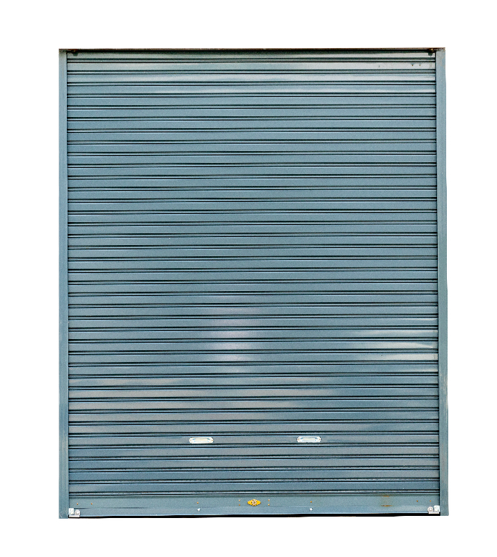 single grey roller shutter door