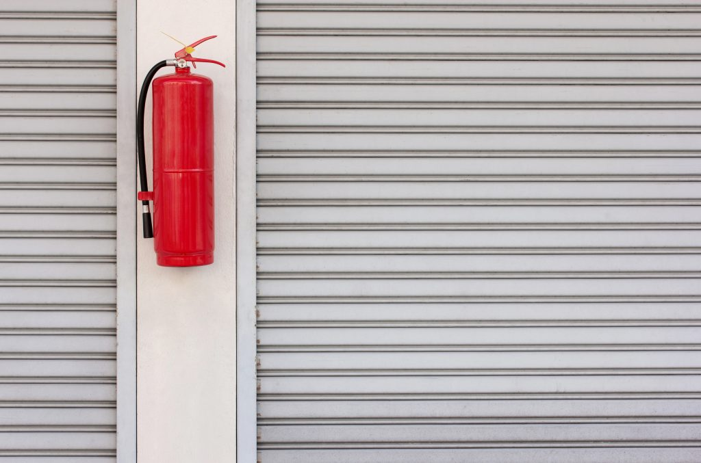Fire extinguisher and fire shutter door.