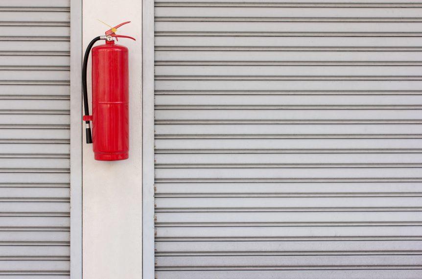 Fire extinguisher and fire shutter door.